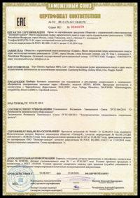 Пример бланка «Сертификат ТР ТС»